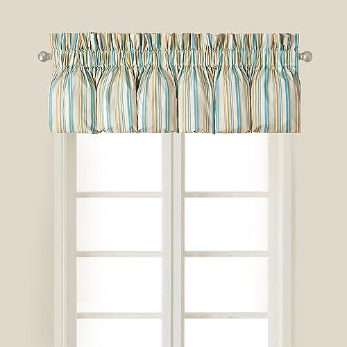 C F Home Natural Shells Blue Cream Tan Stripes Coastal Tropical Beach House Ocean Bedroom Premium Window Blouson Valance Striped Blouson Valance Blue Multi