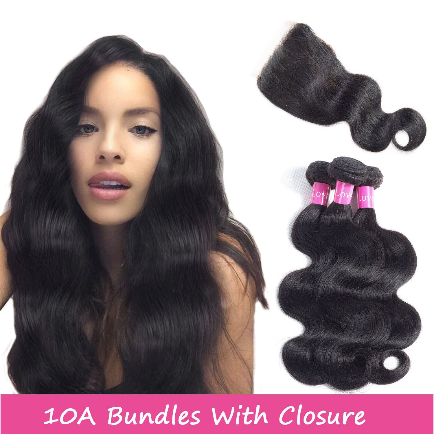 Brazilian Hair 3 Bundles With Closure 10A Virgin Remy Hair Weaves With Free  Part Lace Frontal Natural