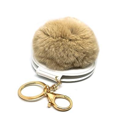 Amazon.com  Teri s Boutique Faux Rabbit Fur Ball Pom Pom Mirror Pendant  Charm Woman Fashion Keychain (Beige)  Jewelry 1e73f2df02