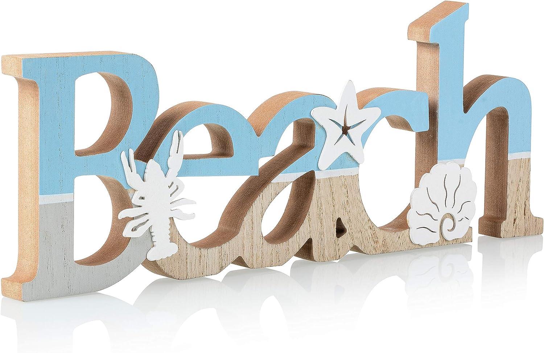 "TideAndTales Wooden Beach Sign 15.5"" x 6"" | Beach Decor Sign for Beach House or Coastal Theme Interior | Ocean, Shells and Starfish Beach Decorations for Home | Beach Bathroom Decor | Beach Gifts"