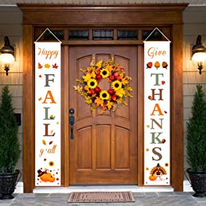 Dazonge Thanksgiving Fall Decorations | Happy Fall Y'all & Give Thanks Porch Signs | Thanksgiving Home Decor | Fall Decor for Home