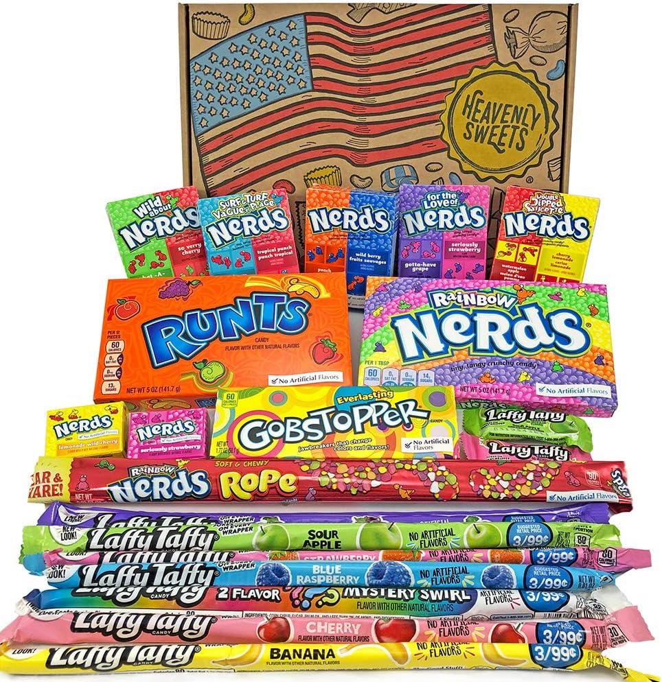 Cesta Americana caramelos Wonka | Golosinas y barra de caramelos de selección en caja regalo | Surtido incluye Wonka Nerds Gobstoppers | 20 artículos de caramelos Retro