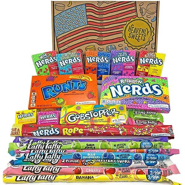 Heavenly Sweets Dulces Nerds Cesta Caramelos - Selection Americana con Surtido Nerds Rainbow, Mini, Laffy Taffy - Regalo Cumpleaños, Navidad, Día de San Valentín, Pascua - Pack de 28x19x4cm: Amazon.es: Alimentación y bebidas