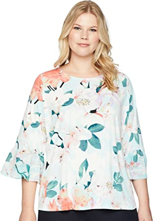 6cc7b5b8748 Calvin Klein Plus Women s Plus Size Printed 3 4 Top w Chiffon Seaspray  Multi 2X (US 20W) at Amazon Women s Clothing store