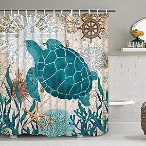 Pknoclan Sea Turtle Shower Curtain, Nautical Shower Curtain with 12 Hooks Tropical Ocean Bathtub Shower Curtain Blue Waterproof Fabric Shower Curtain for Bathroom Decoration