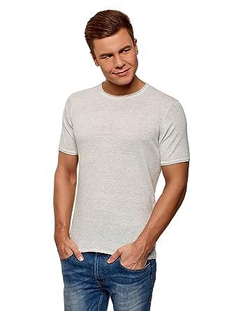391cb98a7472 oodji Ultra Homme T-Shirt Basique en Maille à Col Rond avec Encolure et  Ourlet