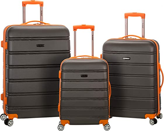 Rockland Melbourne Hardside Expandable Spinner Wheel Luggage, Charcoal, 3-Piece Set