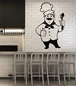 Large Vinyl Wall Decal Chef Cooking Restaurant Menu Food Hat Cutlery Kitchen Decor Stickers Mural (g2284) Black