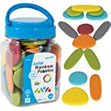 edxeducation - LAD-229 13229 Junior Rainbow Pebbles - Earth Colors - Mini Jar - Ages 18M+ - Sorting and Stacking Stones - Ear