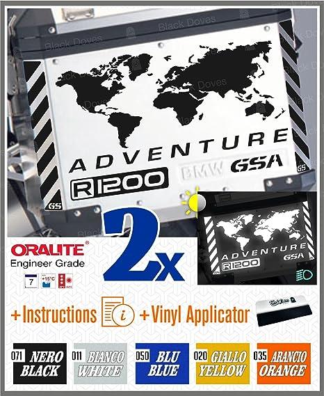 2pcs RIFRANGENTI ADESIVI compatibile con Motorrad R 1200 1150 1250 F 800 650 F700 GS A R1200GS R1200 Touratech Motorcycle Aluminium Panniers VALIGIE LATERALI Bianco//Giallo