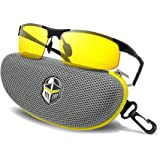 BLUPOND Night Driving Glasses - Anti-Glare HD Vision - Yellow Tint Polycarbonate Lens - Safety Sunglasses Men Women Plus Car Clip Holder