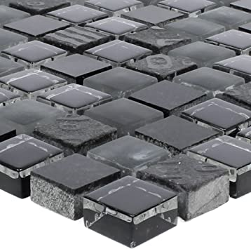 Mosaikfliesen Ankara Glas Stein Mix Schwarz 15 Wand Mosaik Mosaik Fliesen Naturstein Mosaik Fliesen Bordure Ideal Fur Den Wohnbereich Und Furs Badezimmer Auch Als Muster Erhaltlich Amazon De Baumarkt