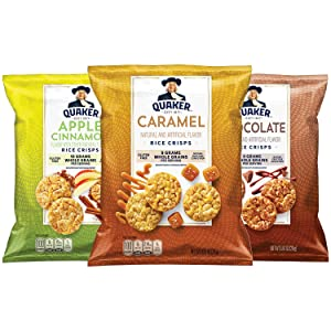 Quaker Rice Crisps, Gluten Free, 3 Flavor Sweet Variety Mix, Single Serve, 0.91 Ounce, Pack of 30