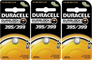 Duracell D395/399B Watch/Calculator Battery, 3 Pack