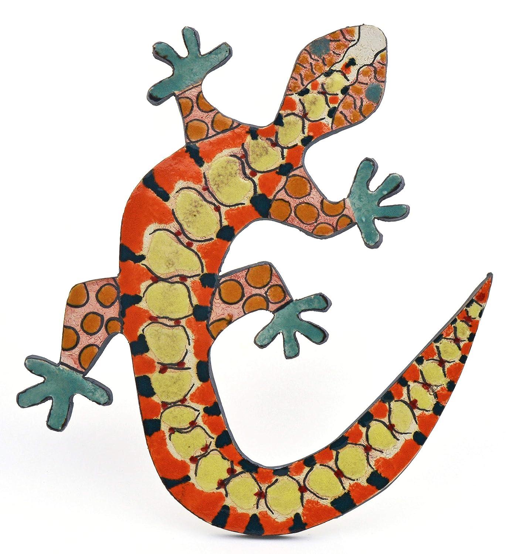 Lagartija Grande Nº1 Decorativa de cerámica Hecha y Pintada a Mano con Decoracion Foc-Art 30 cm x 25 cm x 4 cm: Amazon.es: Hogar