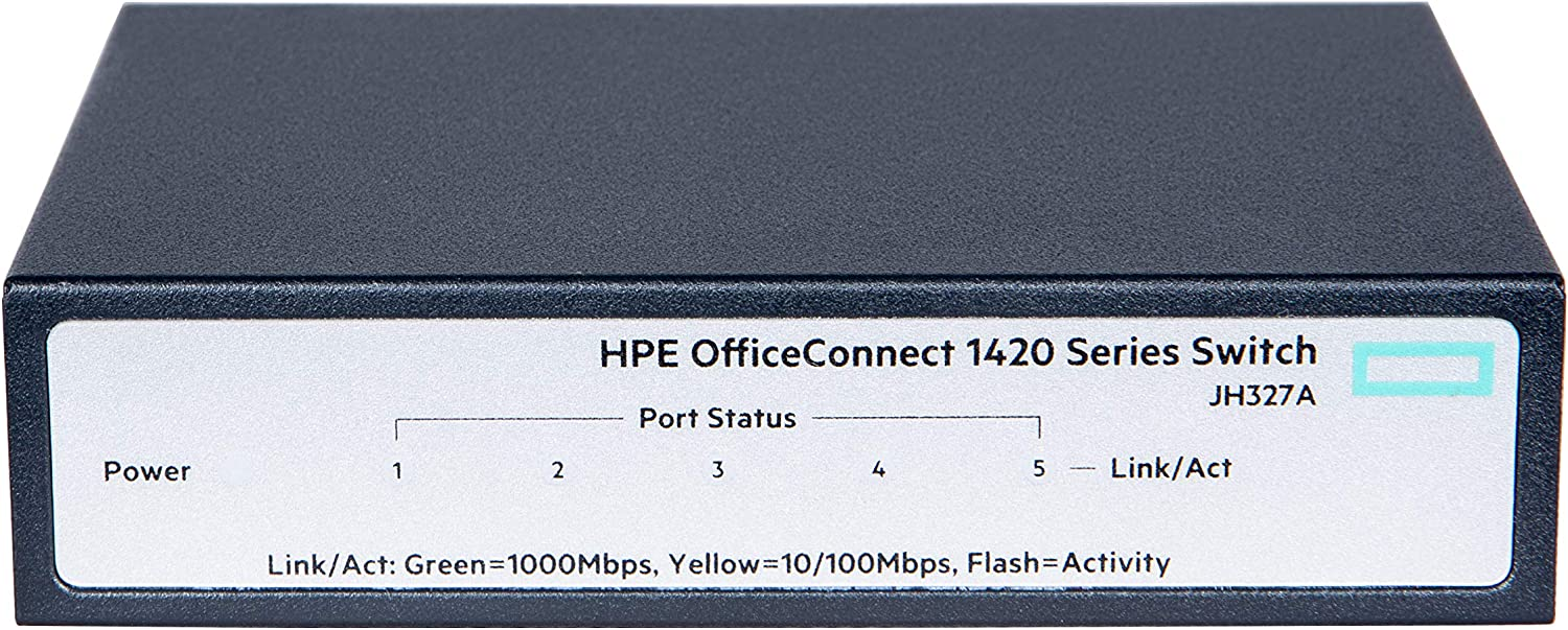 HPE OfficeConnect 1420 5-Port Gigabit Ethernet Unmanaged Switch-5 x GE 10/100/1000 (JH327A)
