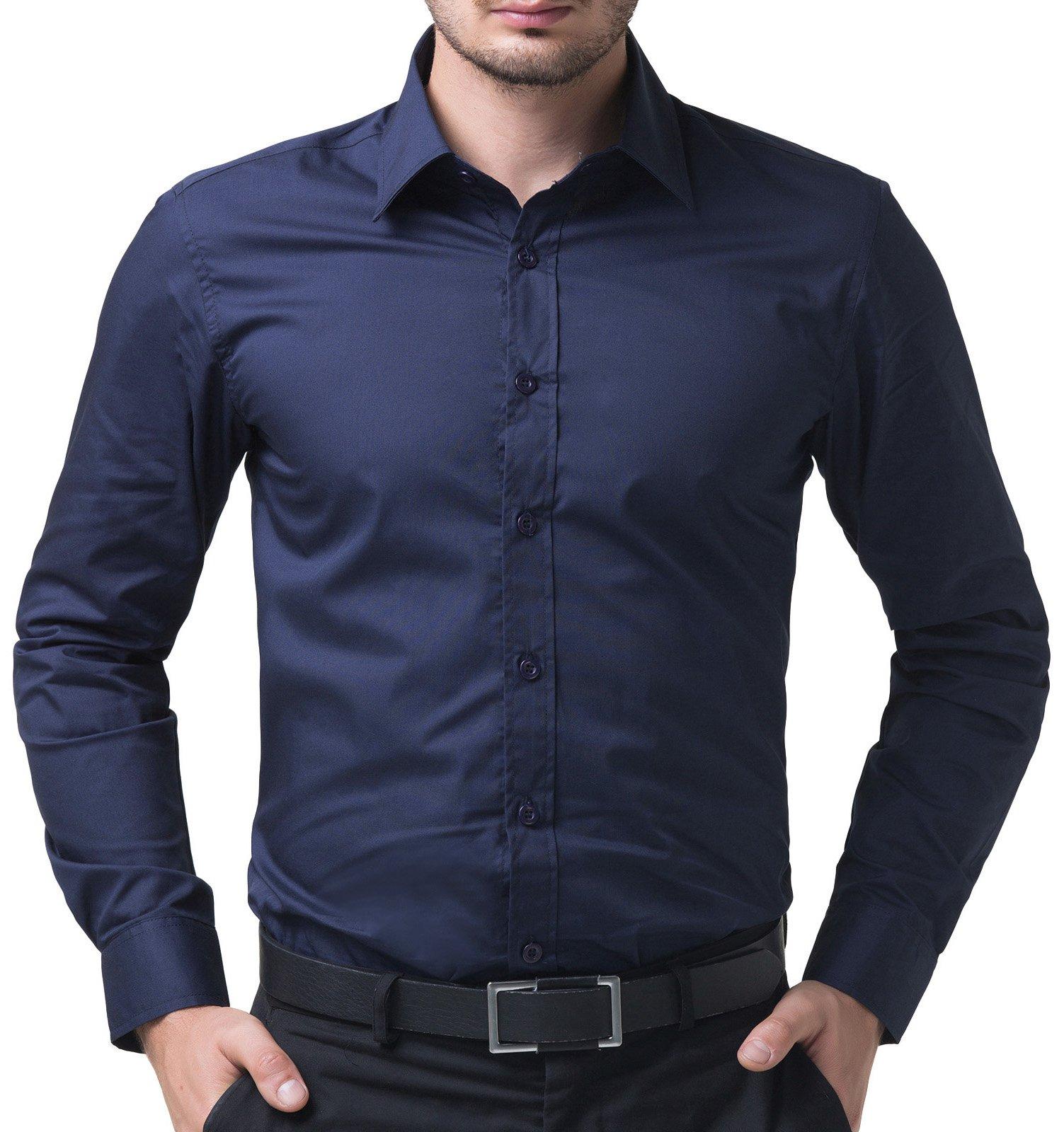 Mens Navy Blue Dress Shirt: Amazon.com
