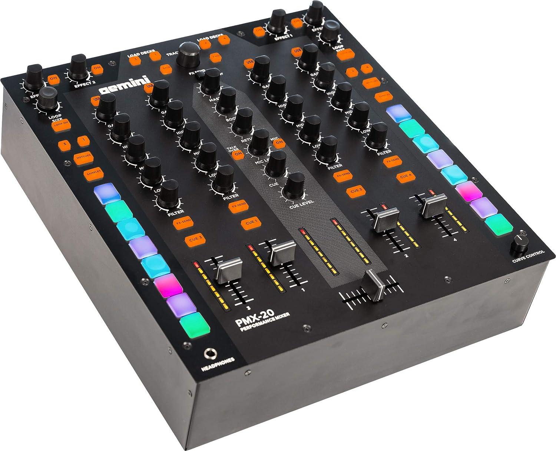 Gemini PMX-20 Table de mixage DJ 4 canaux avec interface MIDI et 4 entr/ées et 4 sorties audio