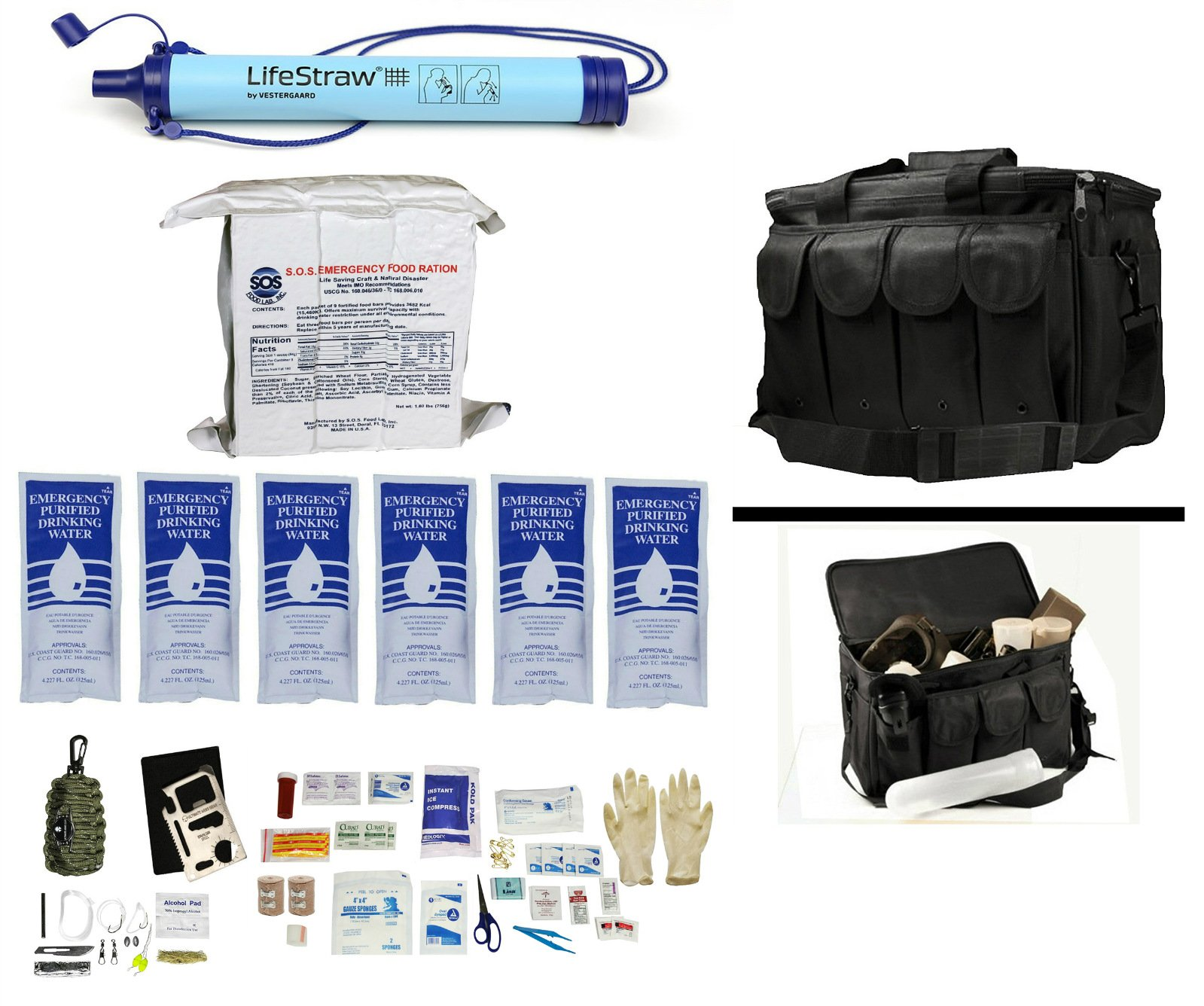 1 Person Supply 3 Day Emergency Bug Out S.O.S. Food Rations, Purified Drinking Water, LifeStraw Personal Water Filter + Ultimate Arms Gear Duty Bag + Survival First Aid Kit & Multi Tool Set