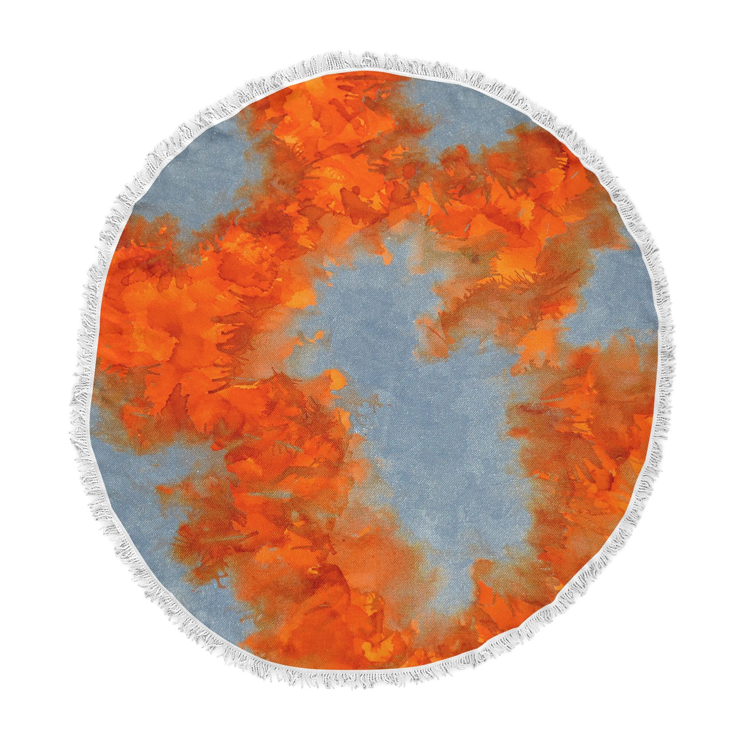 Kess InHouse Claire Day Broken Promises Orange Gray Abstract Painting Round Beach Towel Blanket