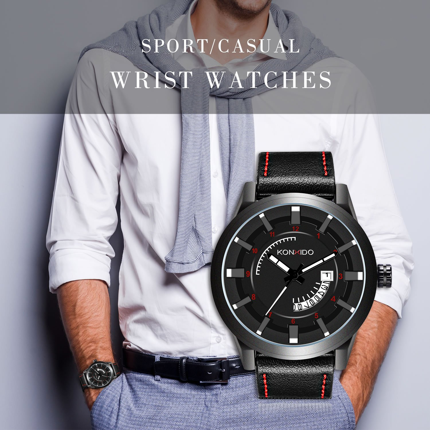 Amazon.com: Kossfer Men Watches Chronograph Waterproof Analog Quartz Wrist Watch - Casual Fashion Watches with Leather Band: Watches