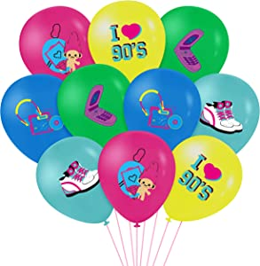 WATINC 52pcs I Love 90s Latex Balloons Set for 1990s Retro Party Decor, 12inch Back to the 90s Balloon for Birthday Neon Party Favor Supplies, 90s Retro Balloon for 1990s Throwback Rock and Roll Party
