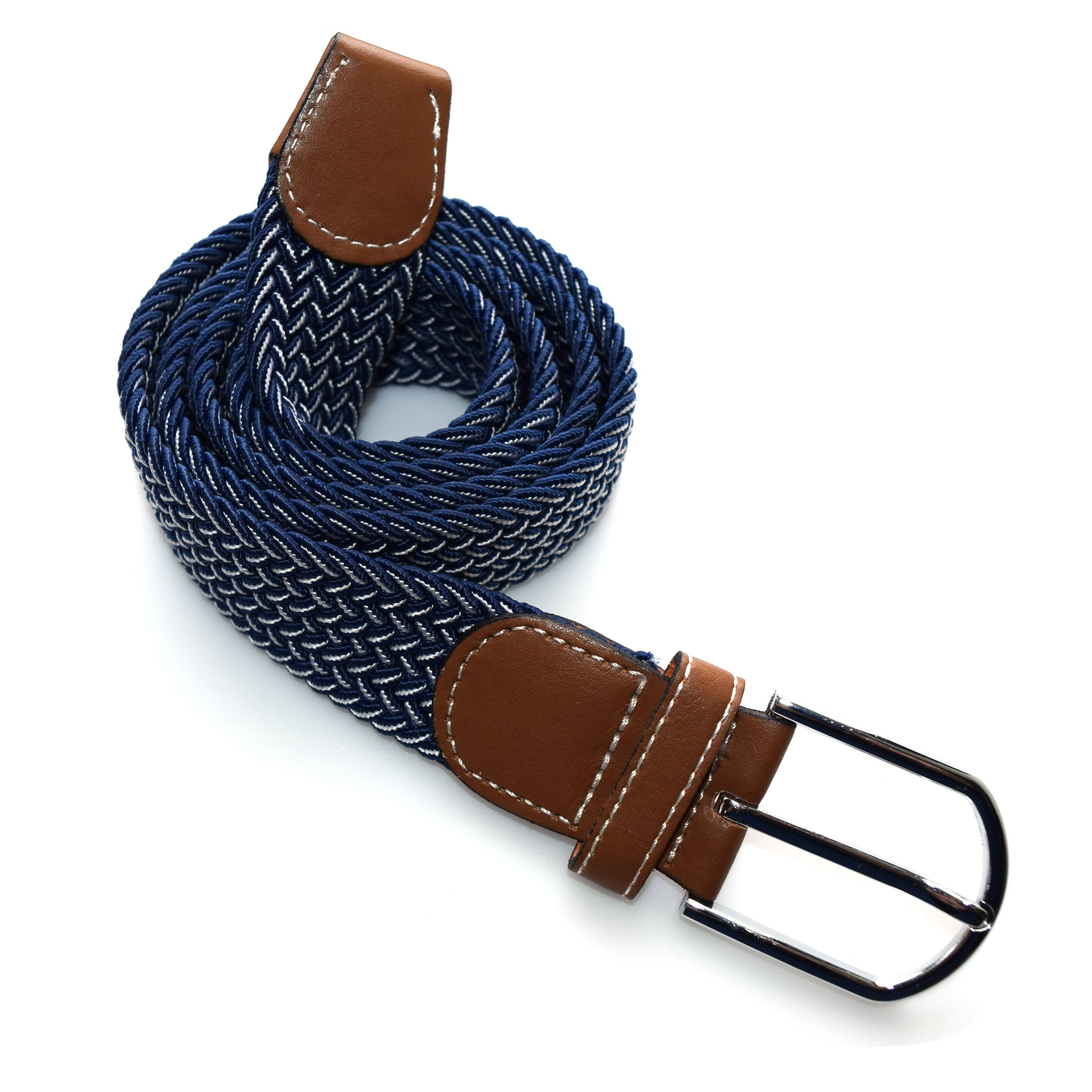 Wits + Beaux Men's Elastic Fabric Woven Braided Stretch Belt (Adjustable Fit) Fun, Colorful Golf Casual Wear (Midnight Blue White Interlace)