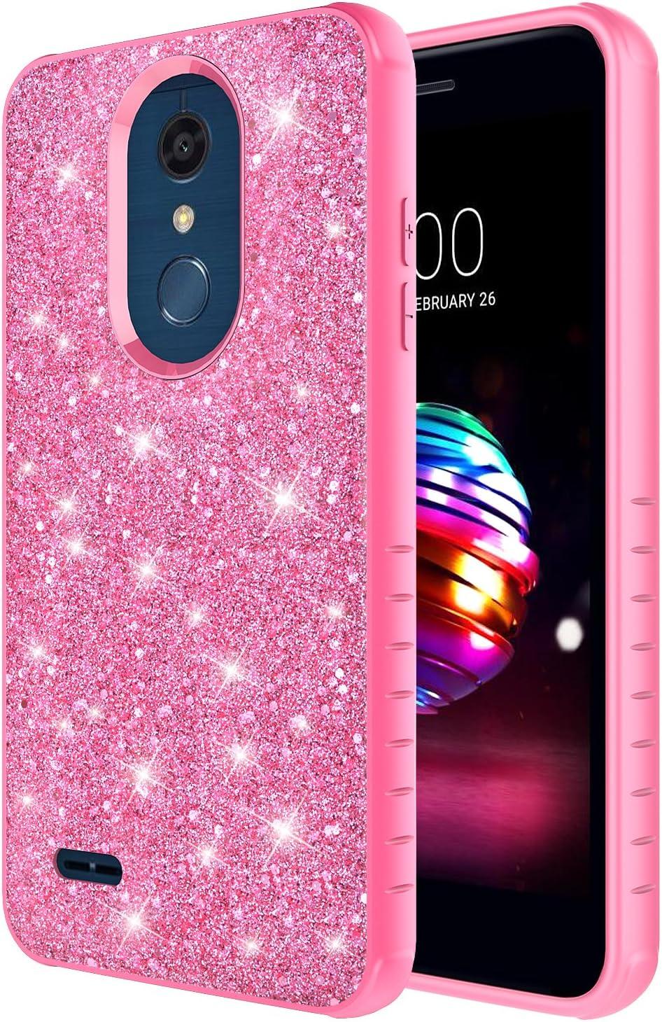 Rosebono for LG Premier Pro LTE Case, LG K30 Case, LG K10 2018 Case, Cute Fashinon Hybird Luxury Shinning Bling Classy Glitter Sparkle Protective Shockproof Case Cover for LG K30 (Pink/Pink)