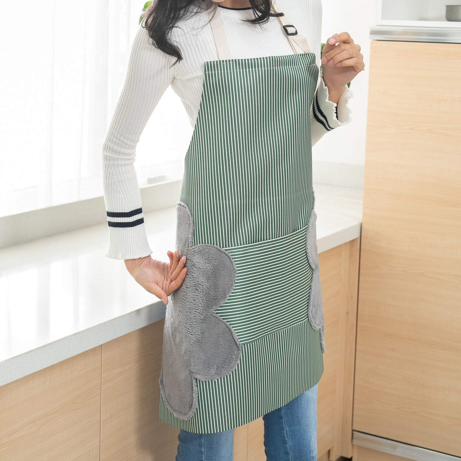 Lot-Yes Waterproof Apron with Pocket,Two Owels Stitched,Adjustable Design of The Strap for Women, Men Kitchen, Home, Cooking (Green)