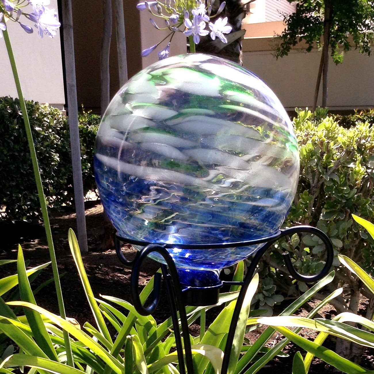 Clouds Over Water Blue Gazing Ball for Garden