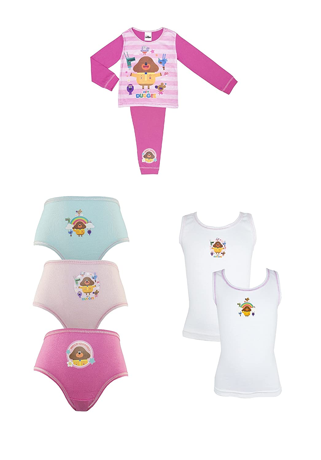 Cartoon Character Products Hey Duggee Girls Pyjama and Pants and Vest Underwear Set 18 Months - 5 Years