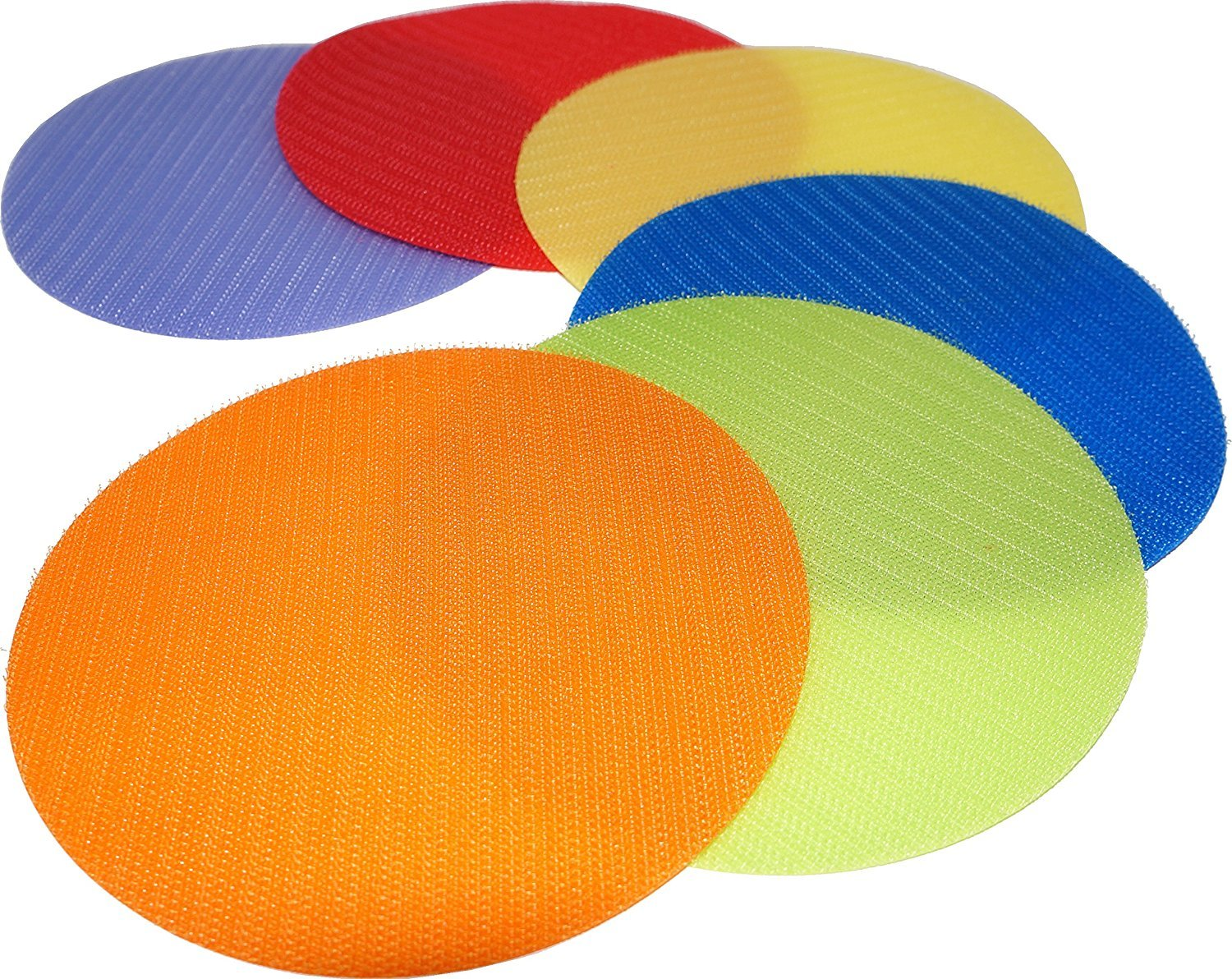 Everyday Educate Carpet Markers Sit Spots - Circle Velcro Sitting Spots 5'' Diameter - Set of 6 (Red, Orange, Yellow, Green, Blue, Purple) by Everyday Educate