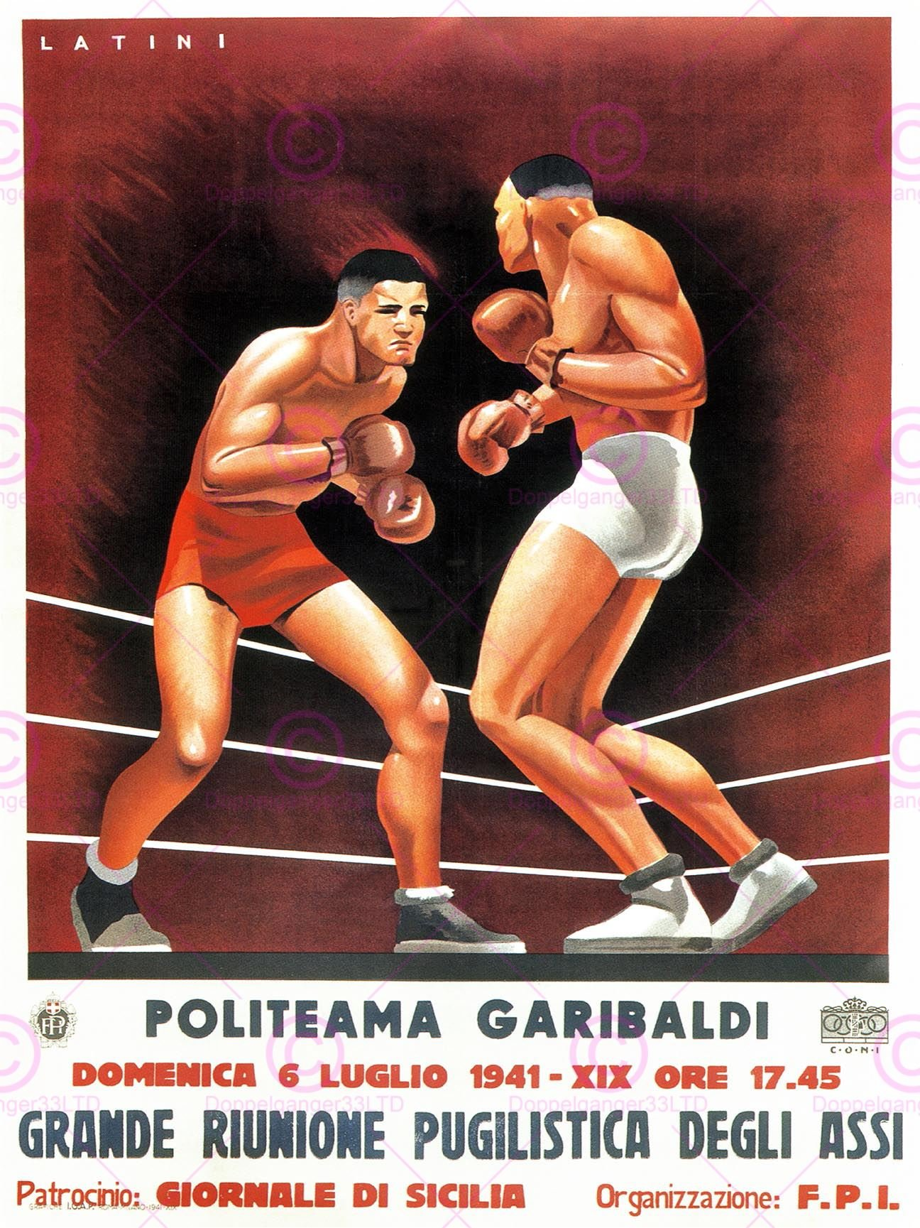 SPORT EXHIBITION BOXING SICILY ITALY VINTAGE REPRO 24x18 INCH (61x46 Cms) POSTER ART PRINT 902PYLV