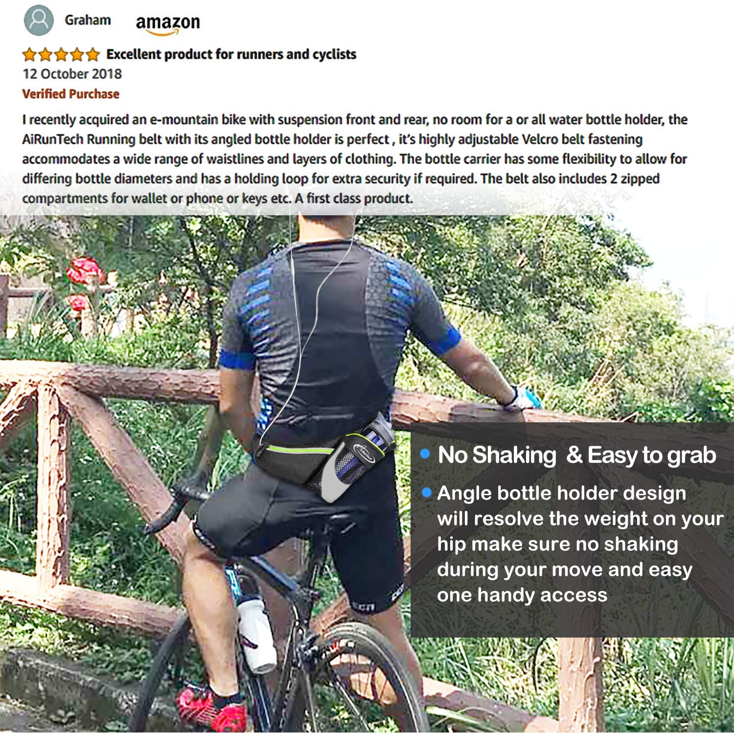 AiRunTech Upgraded No Bounce Hydration Belt Can be Cut to Size Design Strap for Any Hips for Men Women Running Belt with Water Bottle Holder with Large Pocket Fits Most Smartphones