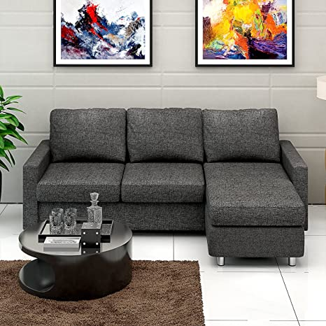 Stupendous Tuff Concepts Modern Cool Dark Grey Fabric Right Hand Or Ibusinesslaw Wood Chair Design Ideas Ibusinesslaworg