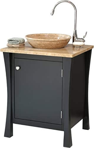 Virtu USA LS 1019 T BL Luneberg 26-Inch Travertine Single Sink Bathroom Vanity