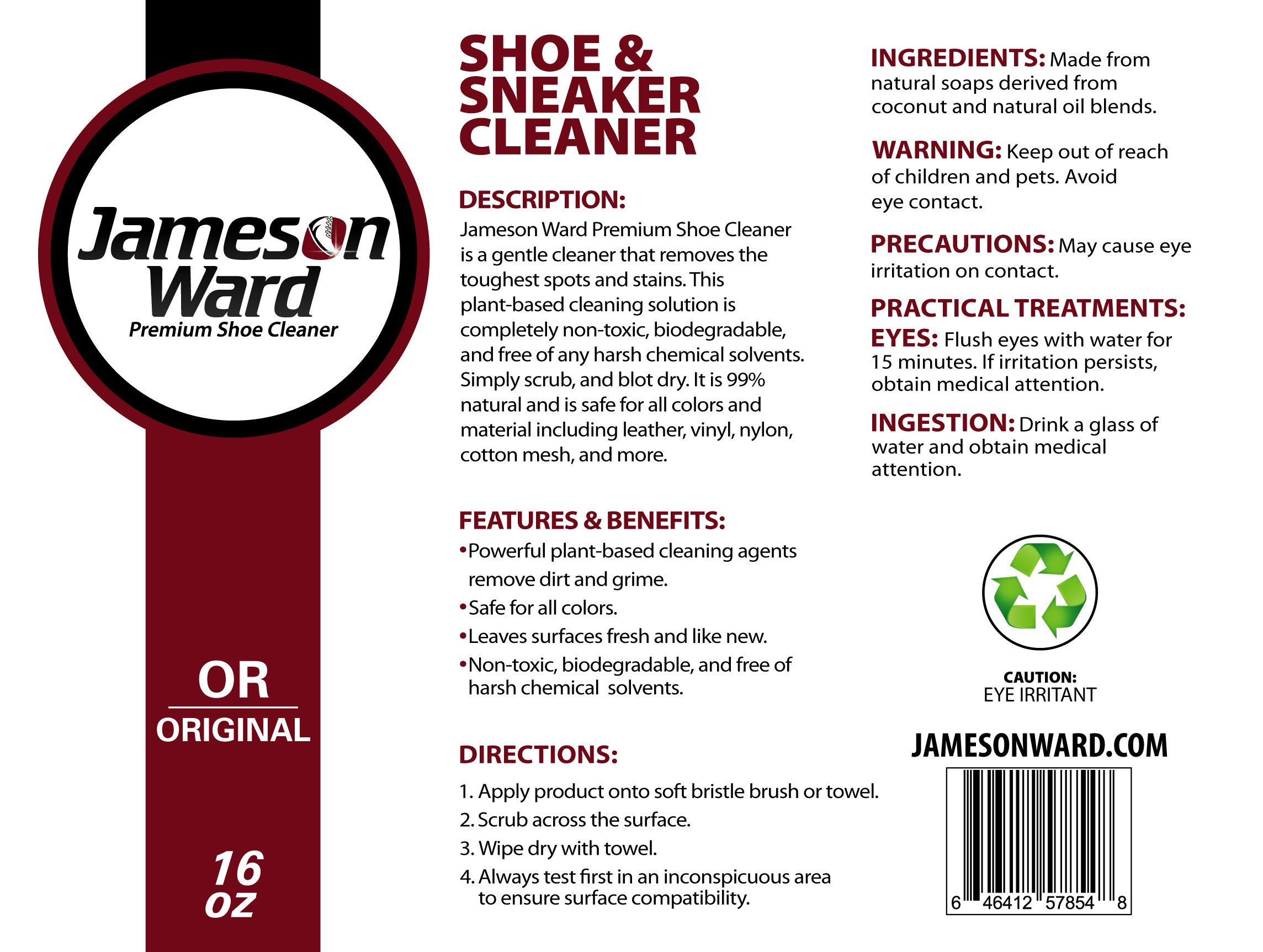 Premium Shoe Cleaner By Jameson Ward 16Oz-Sneaker,Tennis,Basketball,Golf Shoe,Boot,Leather,Nubuck&More by Jameson Ward Premium Shoe Cleaner (Image #2)