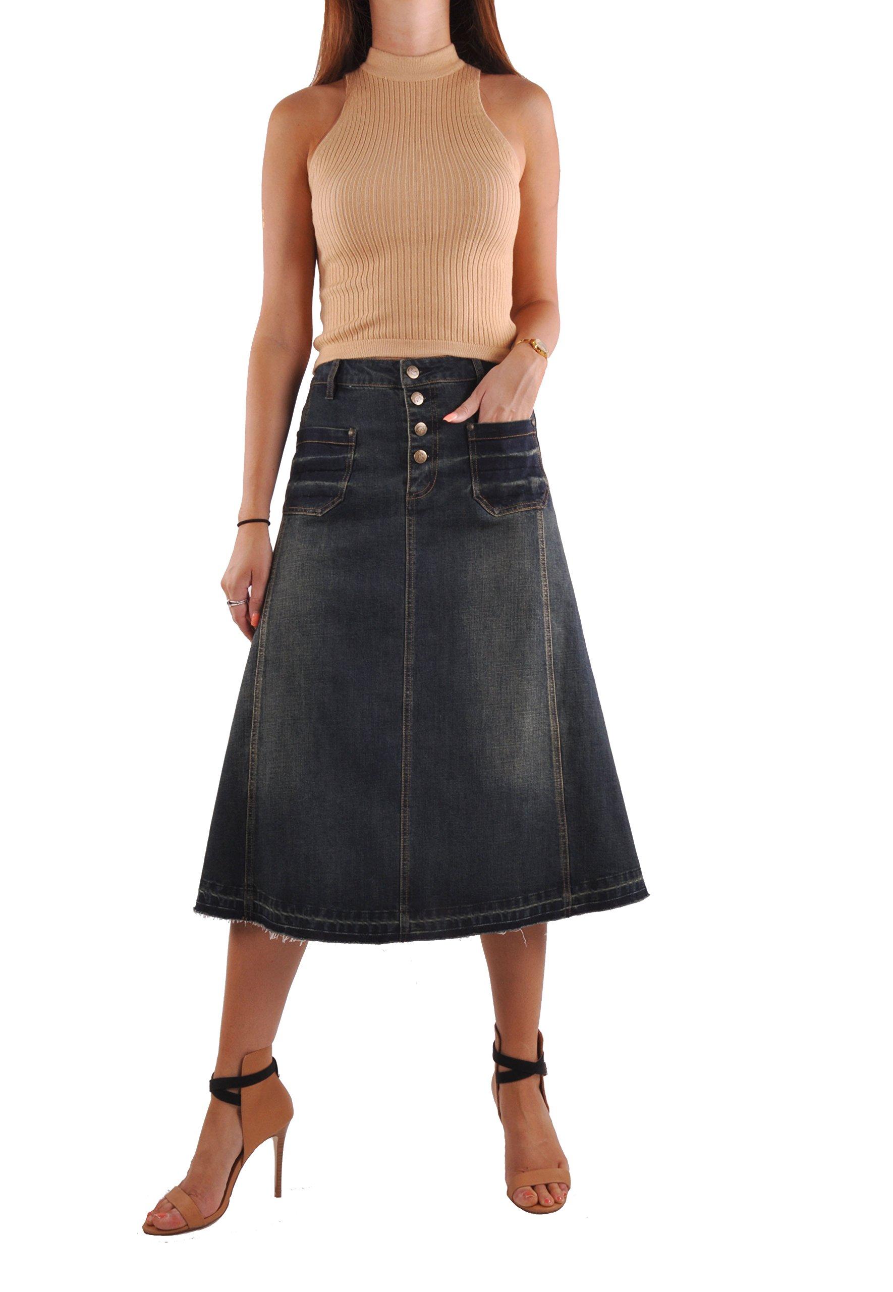 Style J Everyday Vintage Jean Skirt-Blue-28(8)