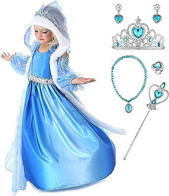 YOSICIL Niñas Disfraz Anna Frozen Elsa con Capa Traje de Princesa ...