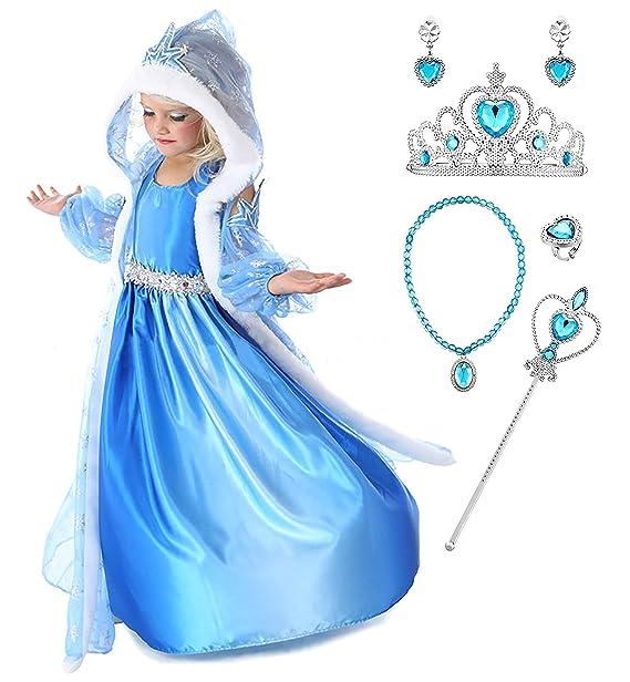 YOSICIL Niñas Disfraz Anna Frozen Elsa con Capa Traje de ...
