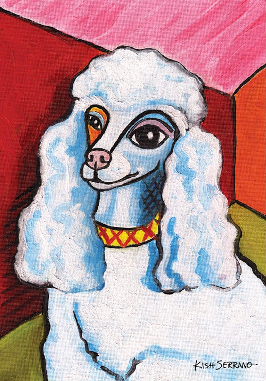 Toland Home Garden Pawcasso Poodle 12.5 x 18 Inch Decorative Puppy Dog Portrait Garden Flag