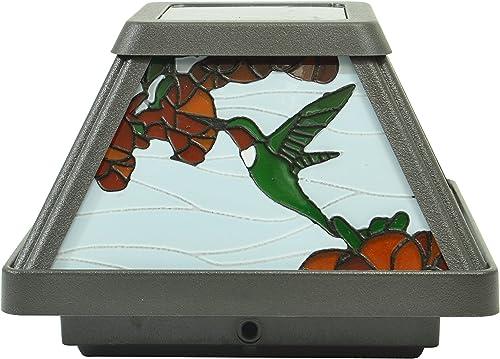 Moonrays 91187 Solar Powered White LED Hummingbird Stained Glass Postcap,Black