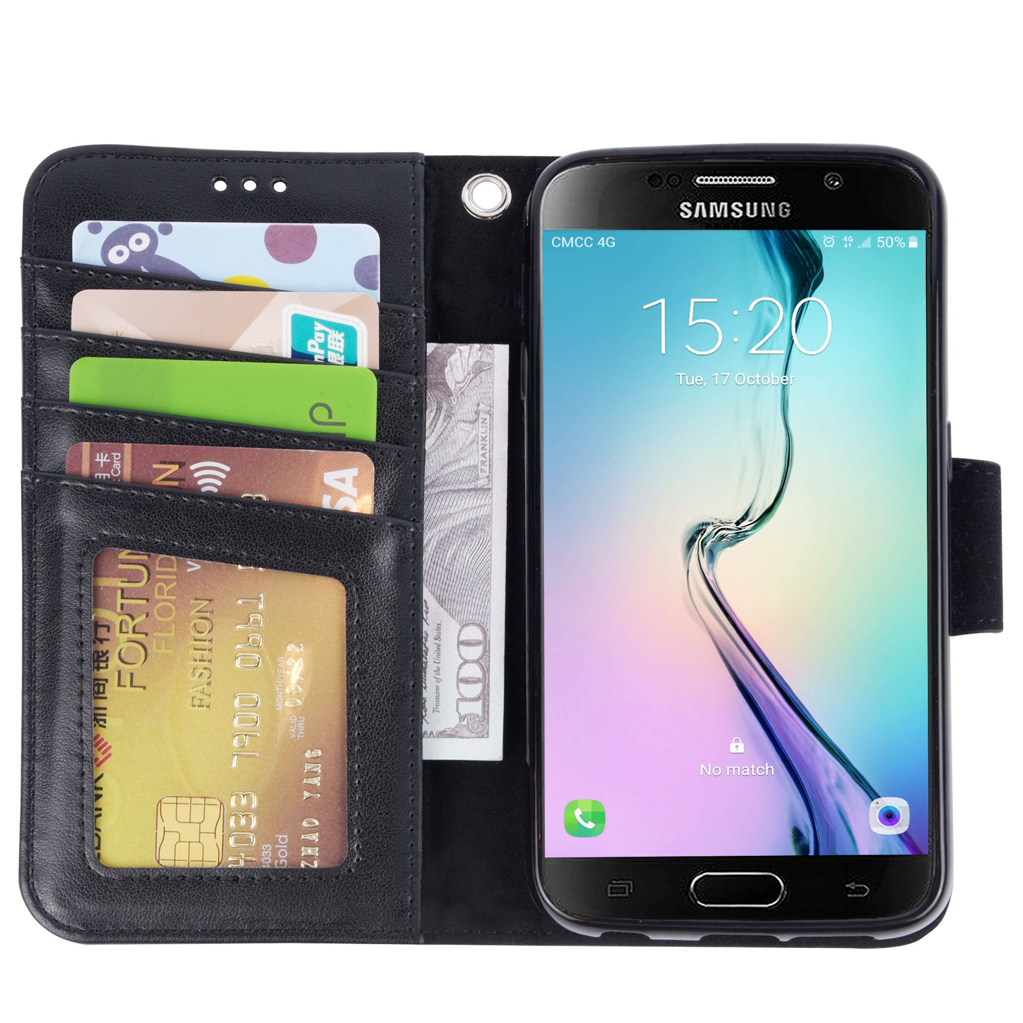 Arae Galaxy S6 Case, Samsung Galaxy S6 wallet case, [Wrist Strap] Flip Folio [Kickstand Feature] PU leather wallet case with ID&Credit Card Pockets For Samsung Galaxy S6 (Black) by Arae (Image #4)