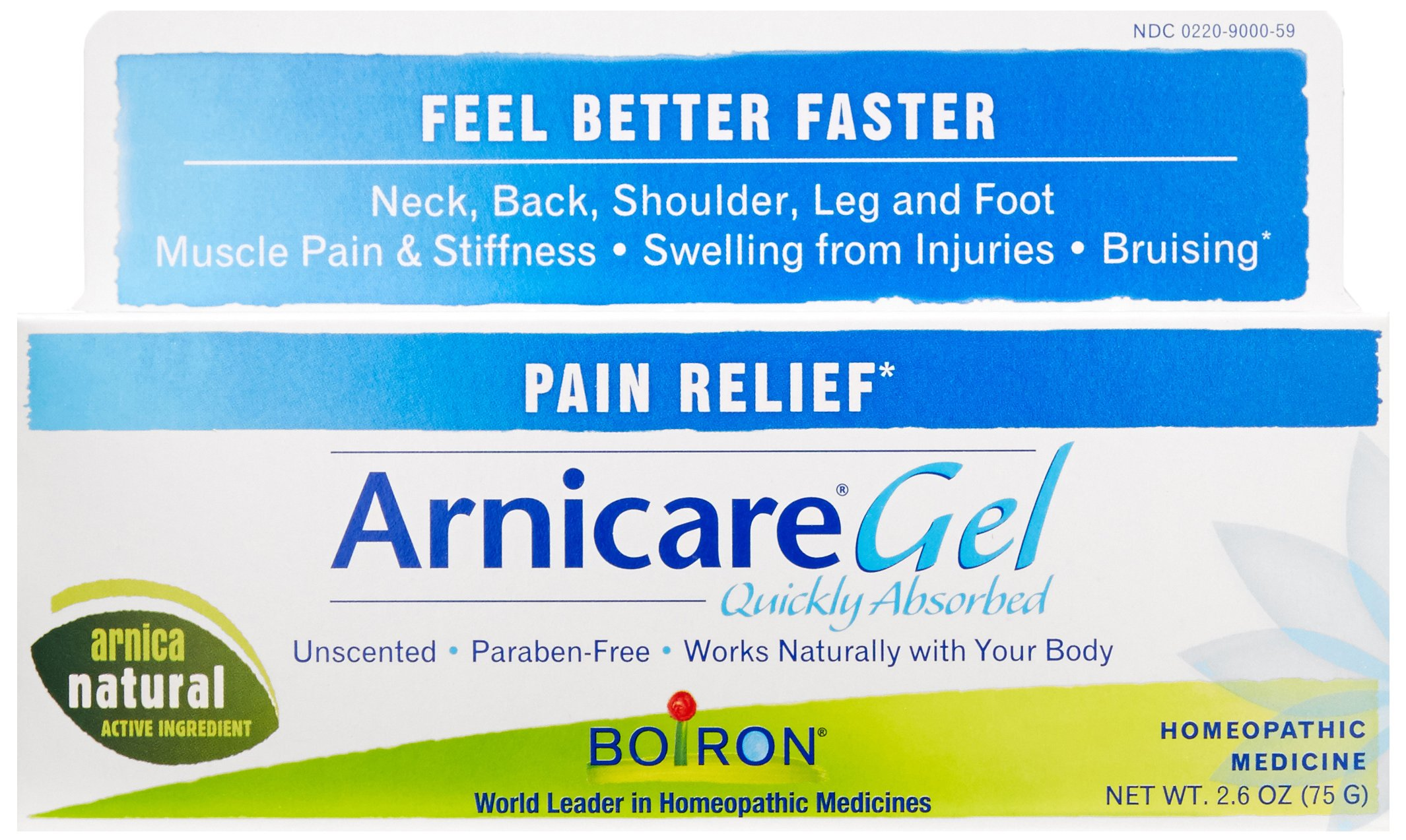 Boiron Arnica Gel for Pain Relief, 2.6 Ounce, Topical Analgesic for Neck Pain, Back Pain, Shoulder Pain, Leg and Foot Pain, Muscle Pain, Joint Pain Relief, Arthritis. Natural Active Ingredient