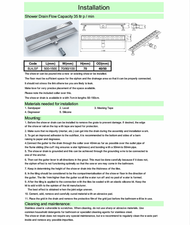 Schindora Stainless Steel Linear Shower Floor Drain Wet Room ...