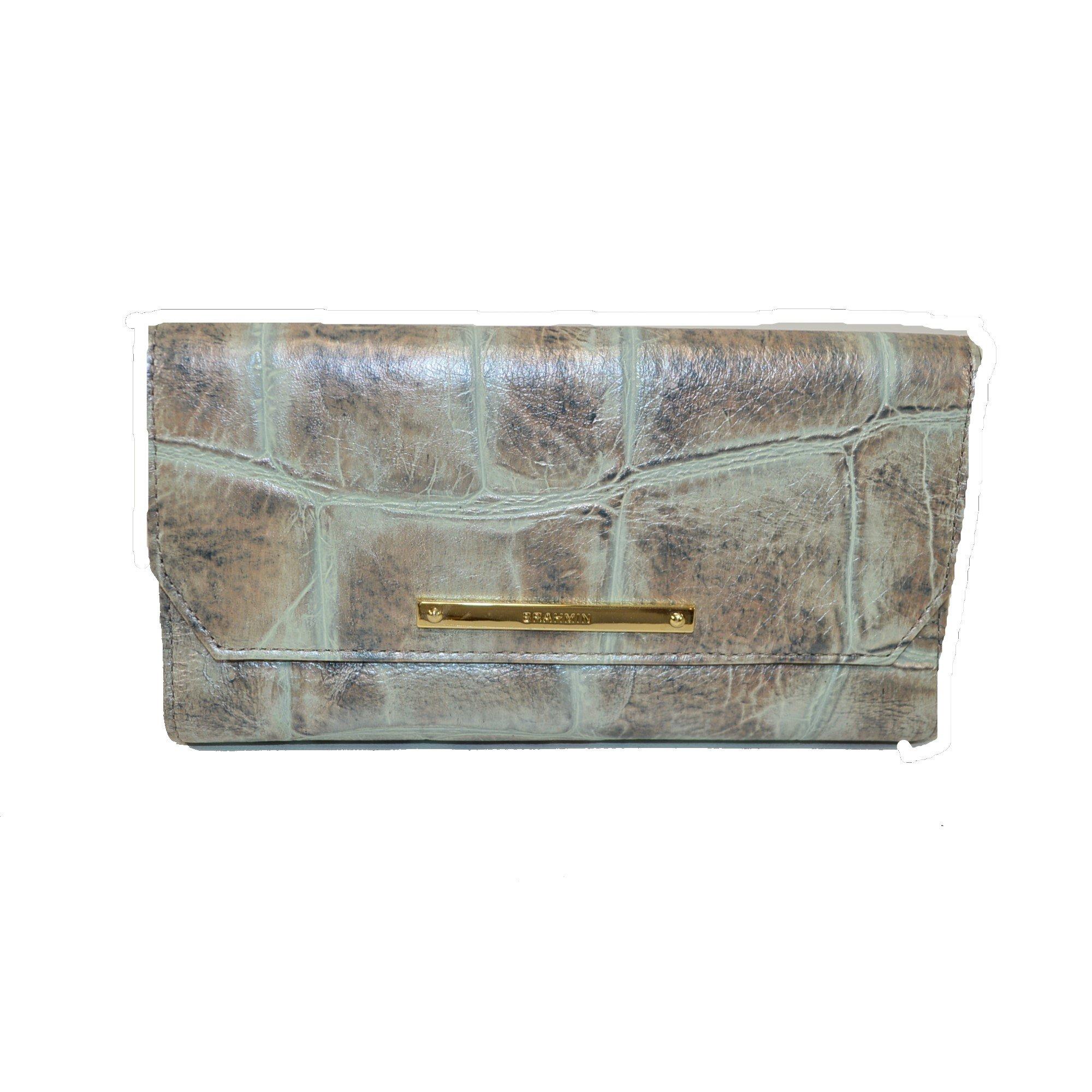 Brahmin Soft Checkbook wallet Pewter Majorelle G44 1185 by Brahmin