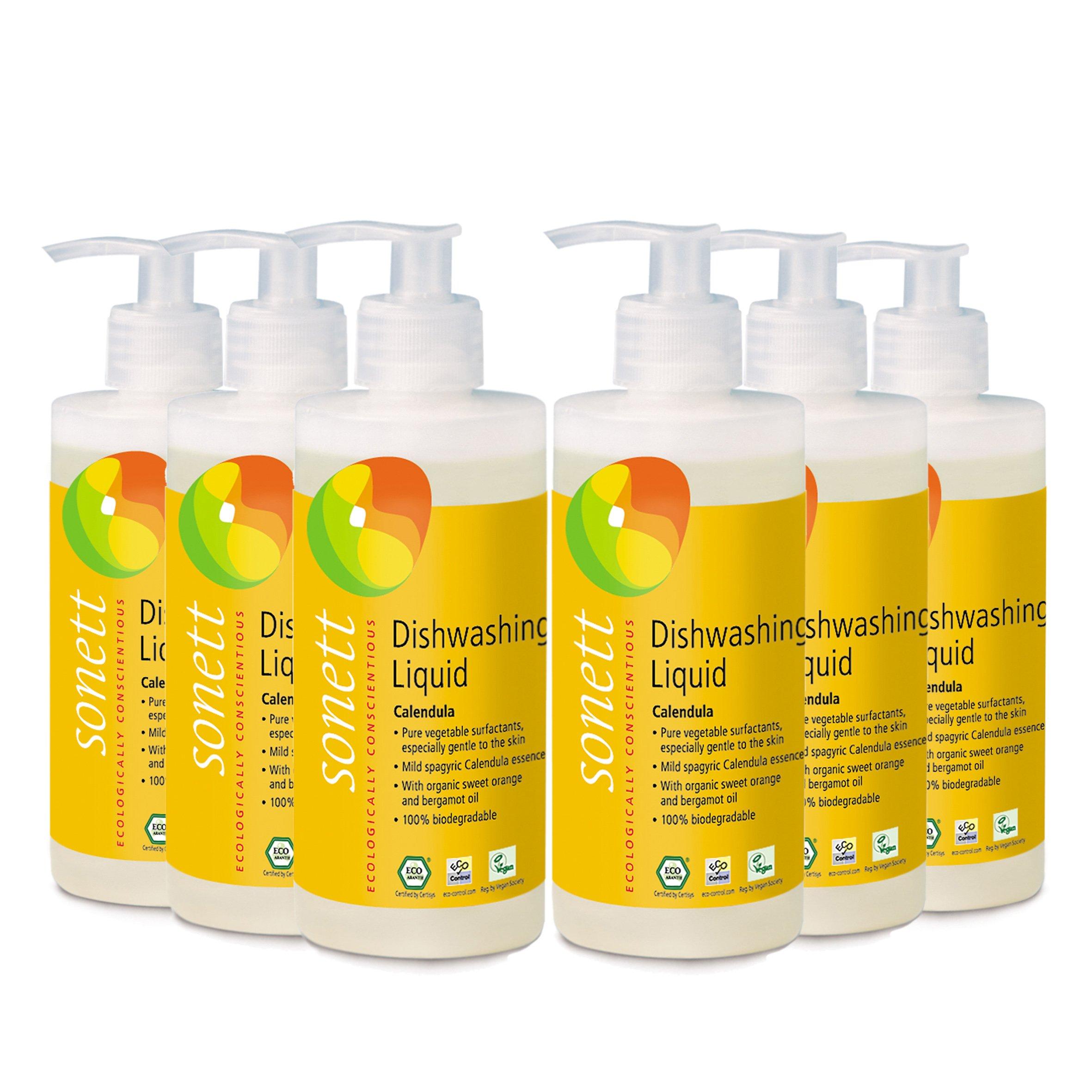 Sonett Organic Dishwashing Liquid Calendula, Lemon 10 oz and 33.8 oz (Calendula, 10 Fl.Oz (6 Count))