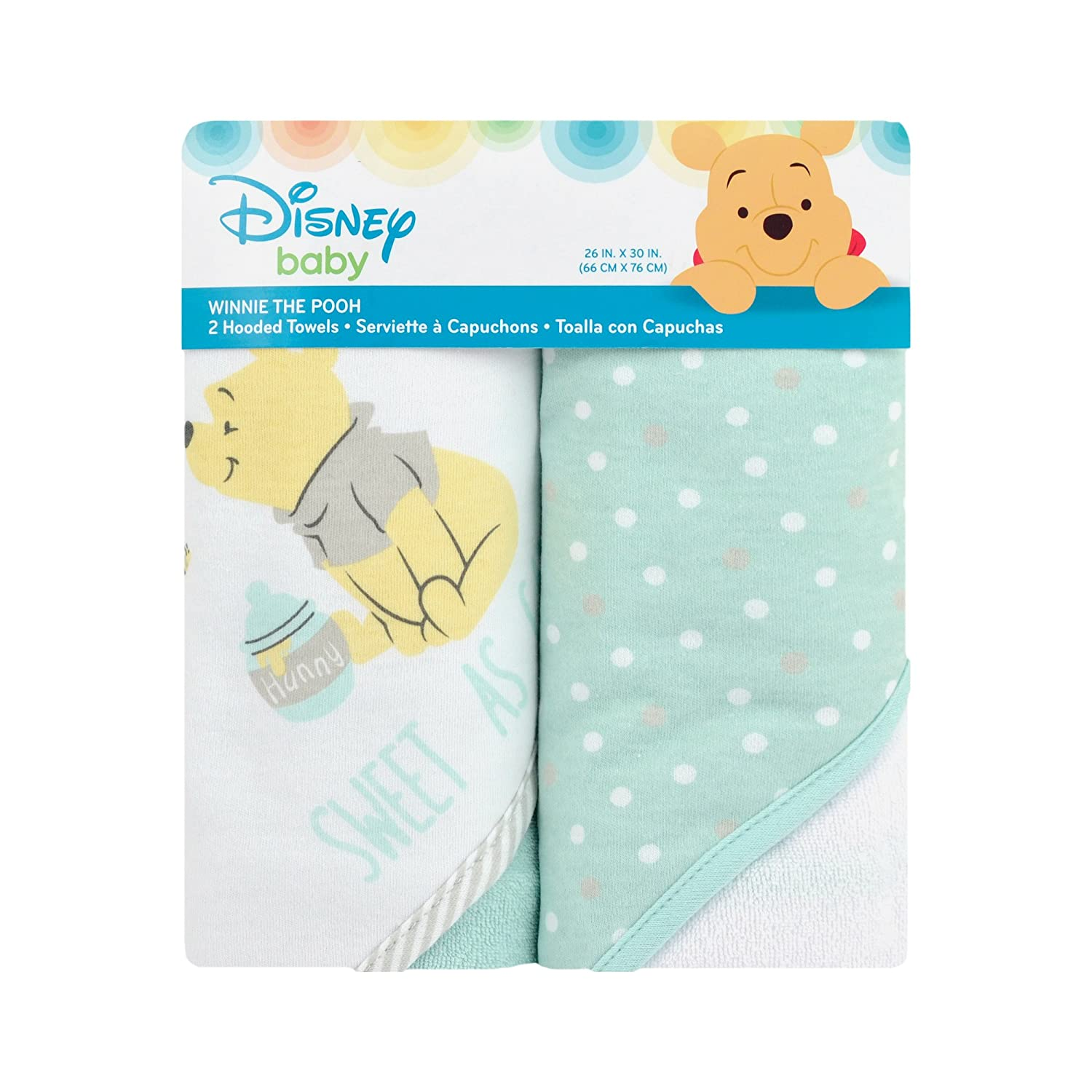 Amazon.com : Disney Baby 2 Piece Winnie The Pooh Hooded Towel, Yellow : Baby