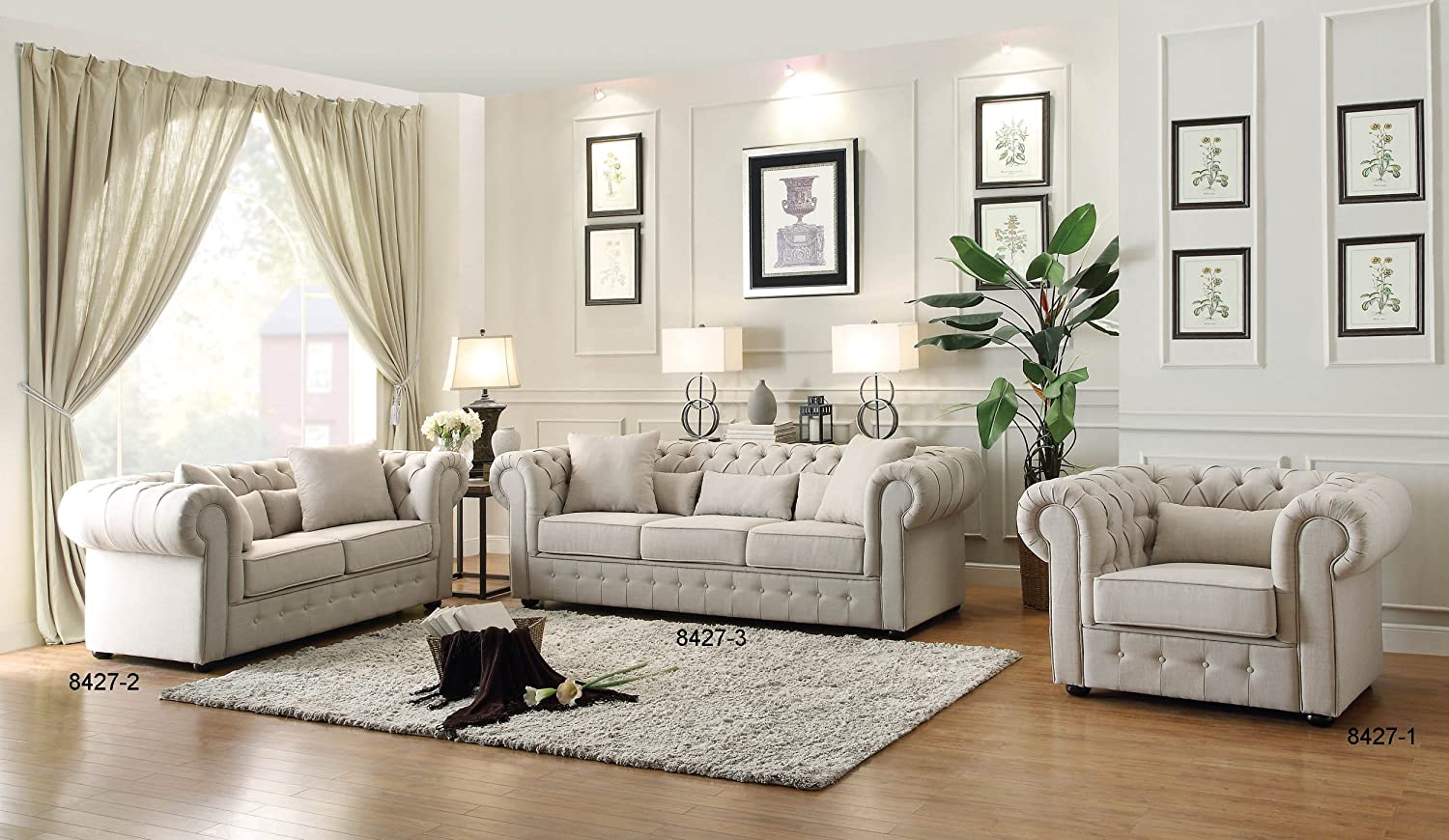 Amazon.com: Homelegance 8427-3 Grand Chesterfield Button Tufted ...