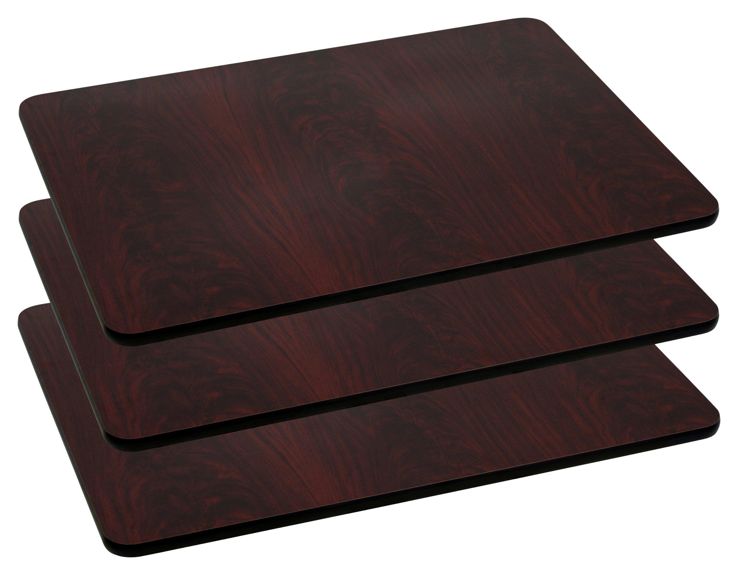 Flash Furniture 3 Pk. 24'' x 30'' Rectangular Mahogany Laminate Table Top